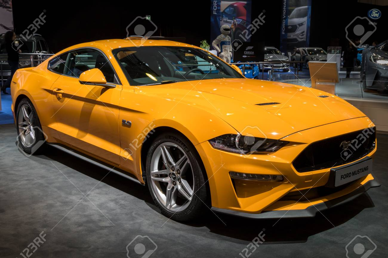 Brussels jan 10 2018 new 2018 ford mustang gt sports car shown at