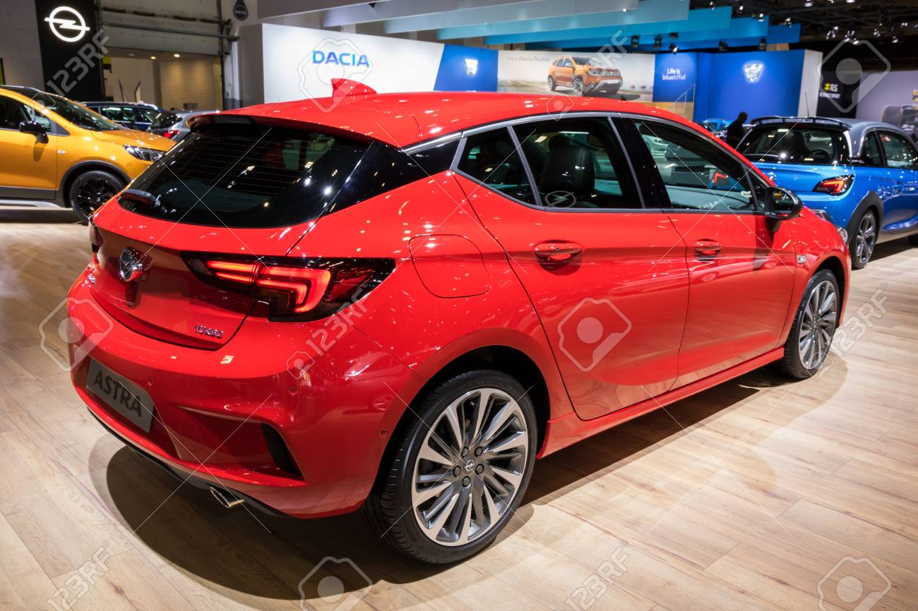 BRUSSELS - JAN 10, 2018: Opel Astra Car Shown At The Brussels ...