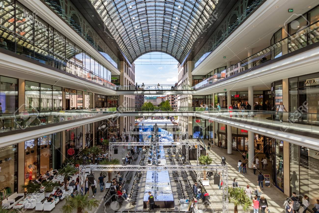 BERLIN, GERMANY APRIL 28, 2018: Interior view of the new Mall..