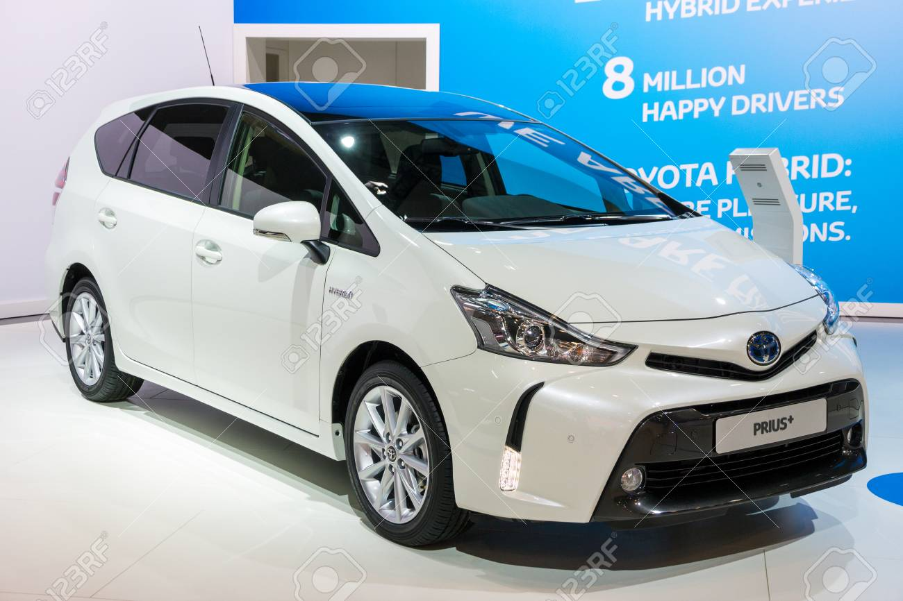 BRUSSELS - JAN 12, 2016: Toyota Prius Plus hybrid car showcased at the Brussels Motor Show. - 107473926
