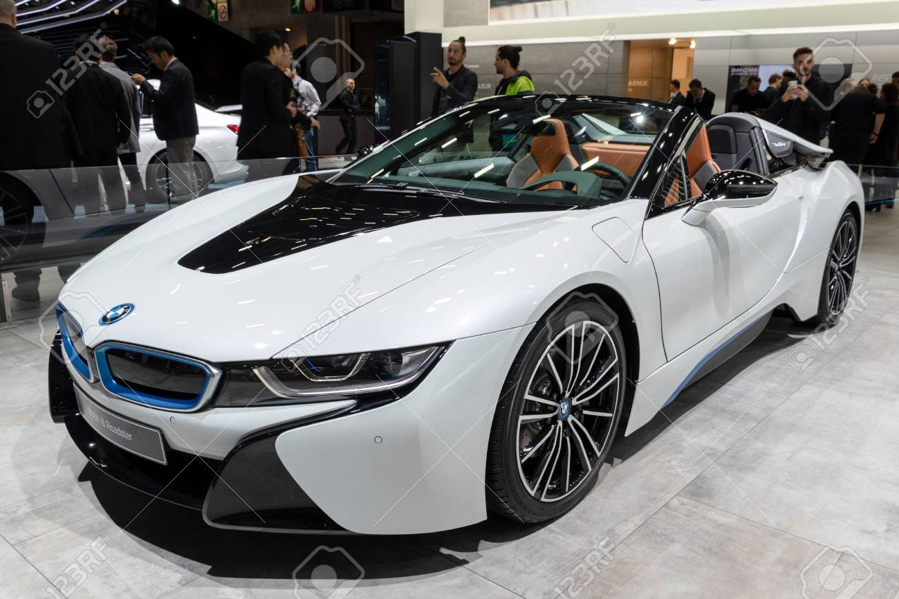Paris Oct 2 2018 Bmw I8 Roadster Electric Sports Car Showcased Stock Photo Picture And Royalty Free Image Image 115970173
