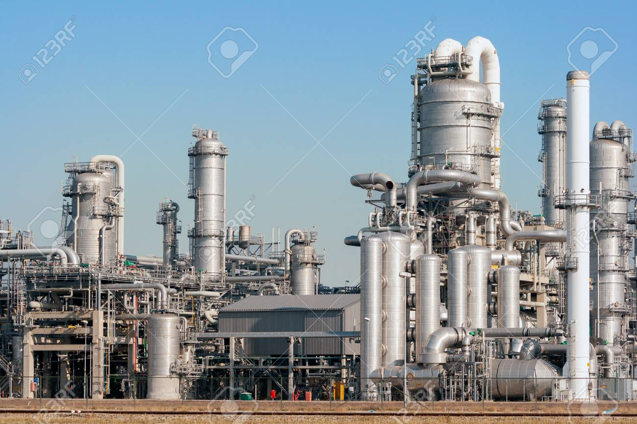 Industrial pipelines of an oil refinery power station. - 115486133