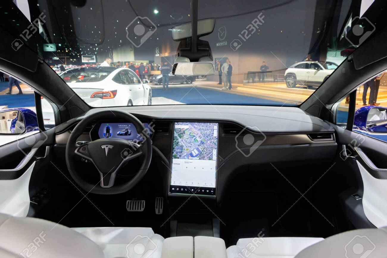 Brussels Jan 9 2020 Tesla Model X Car Model Interior Dashboard Stock Photo Picture And Royalty Free Image Image 139965289