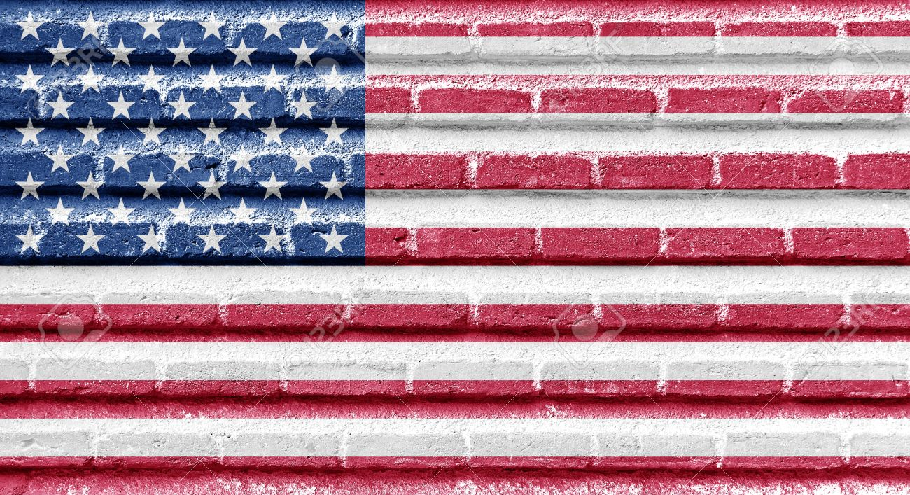 United States Of America USA Flag On An Old Brick Wall Stock - How old is the united states of america