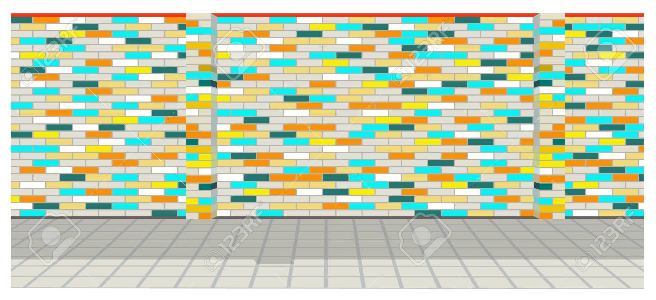 Colorful Brick Wall With Shadow On The Street Stock Photo, Picture ...