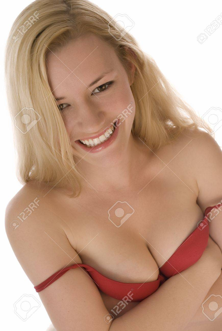 Smiling Blonde in Red Bra Stock Photo - 9143782