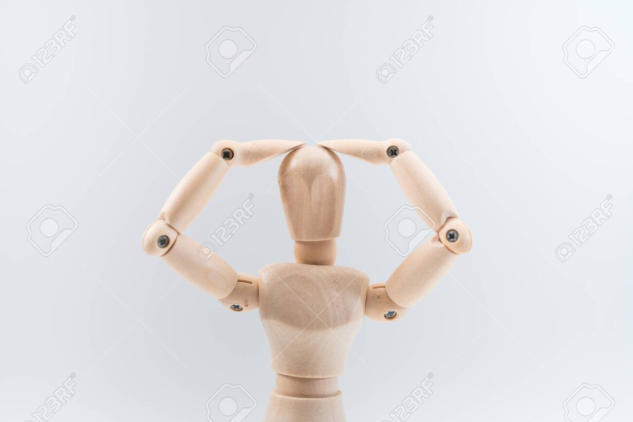 Wooden dummy proudly presents some invisible thing, isolated