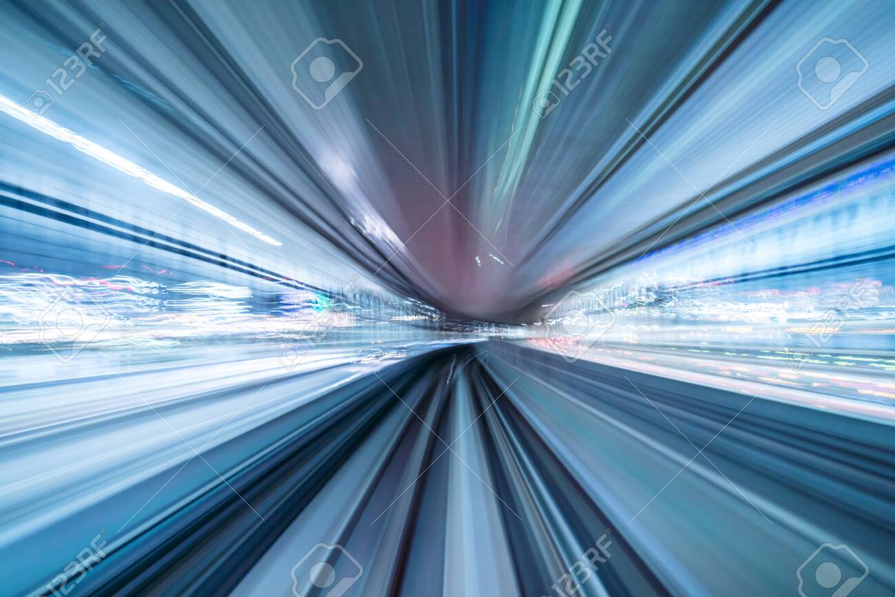 Motion blur of train moving inside tunnel with daylight in tokyo, Japan. - 142579030