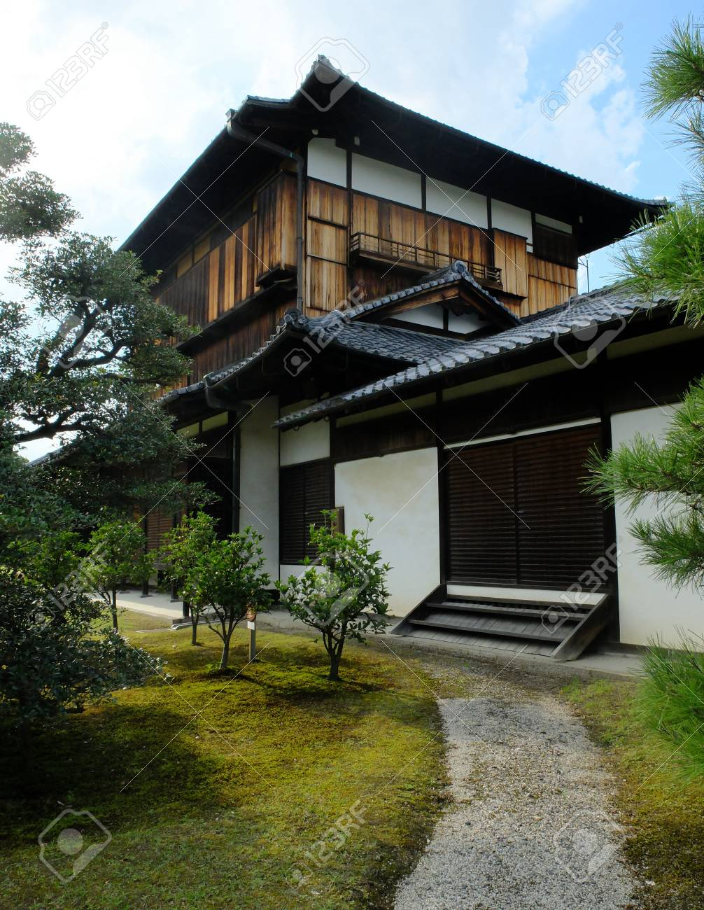 A Traditional Japanese Style House With A Small Beautiful Garden Stock Photo Picture And Royalty Free Image Image 99252729