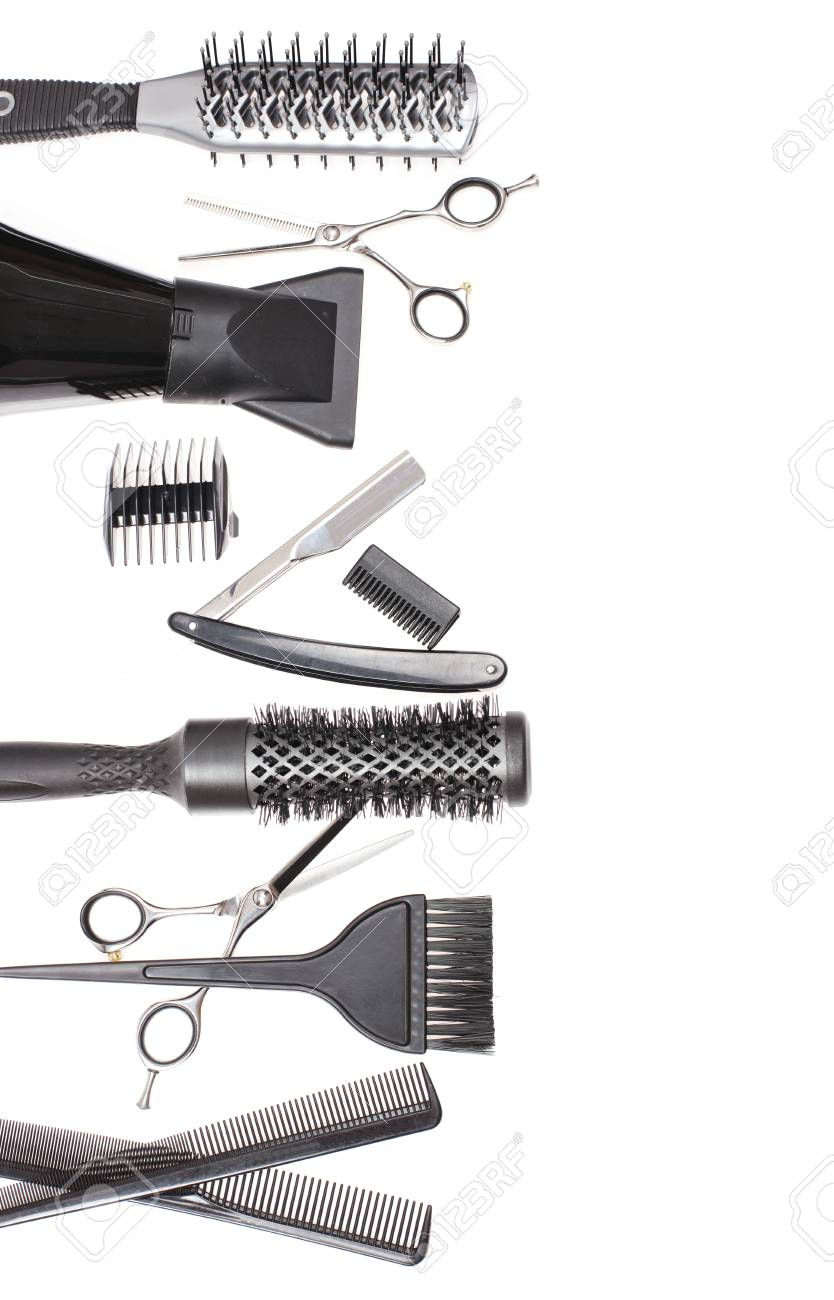 hairdresser accessories comb scissors and razor for cutting
