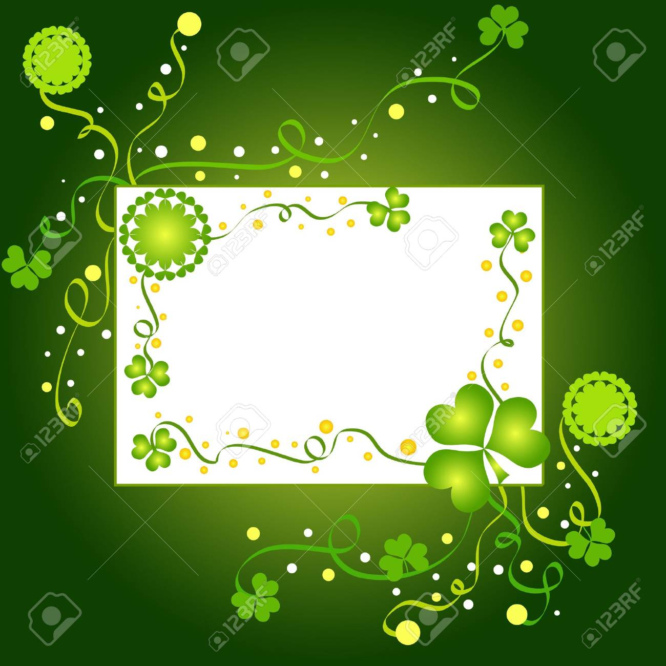 Green shamrocks and floral frame Stock Photo - 776371