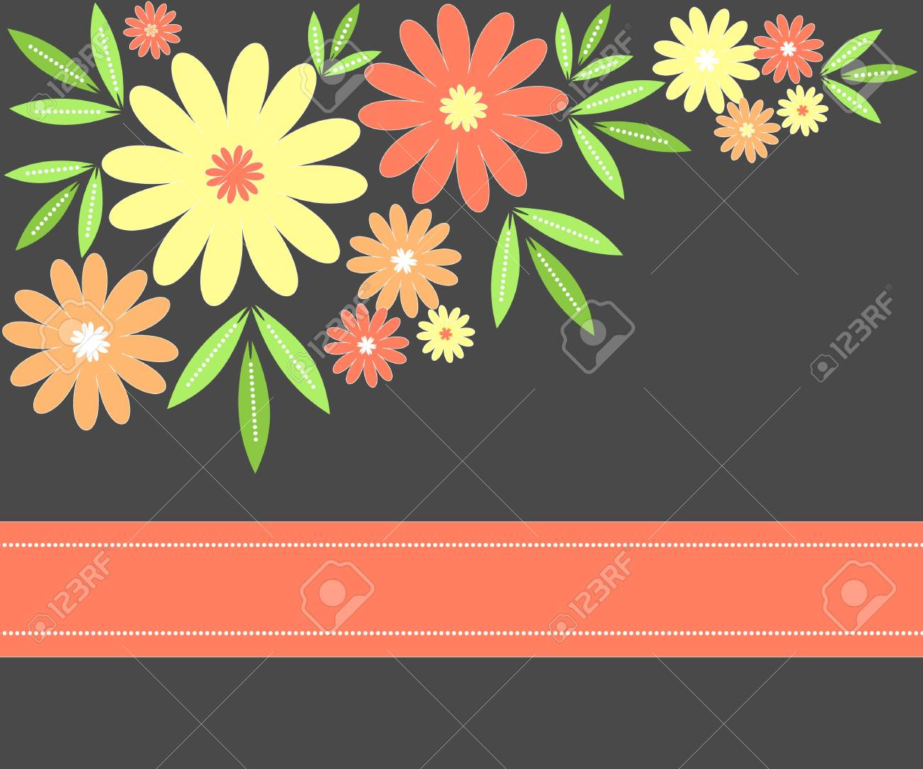 Flowers and leaves background Stock Photo - 9607608