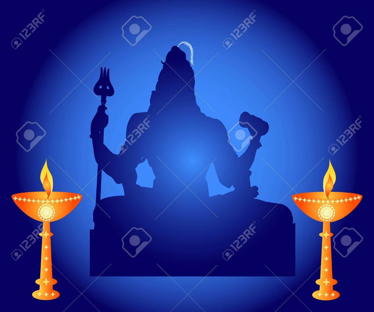 Indian God Shiva With Lamps Stock Photo   13362067