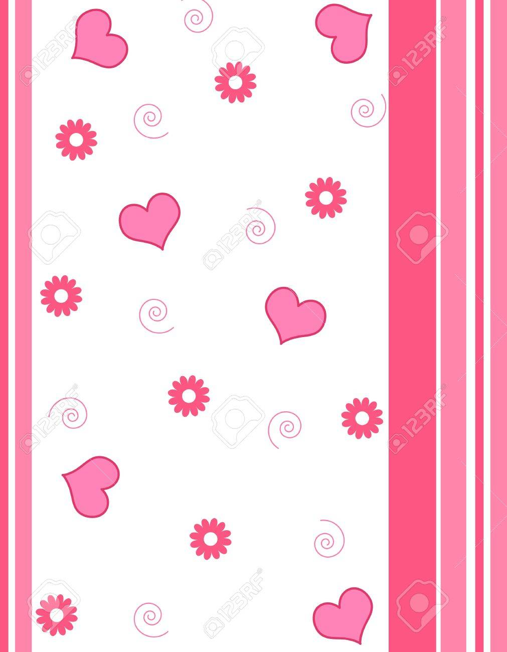 Hearts , flowers and stripes pattern Stock Photo - 13362060