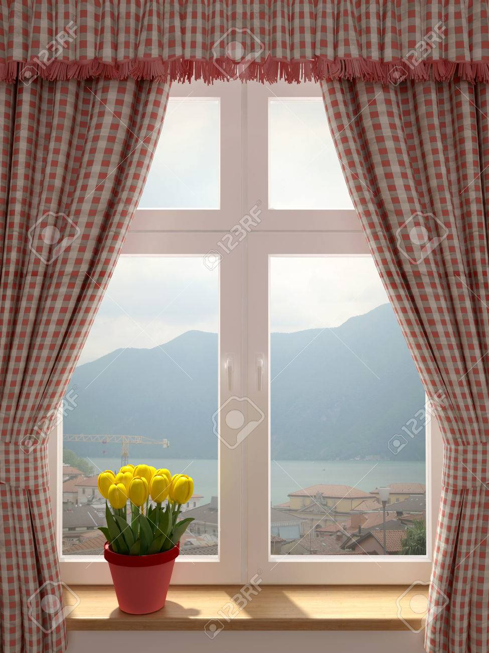 Window with a wonderful view and decorating in country style..
