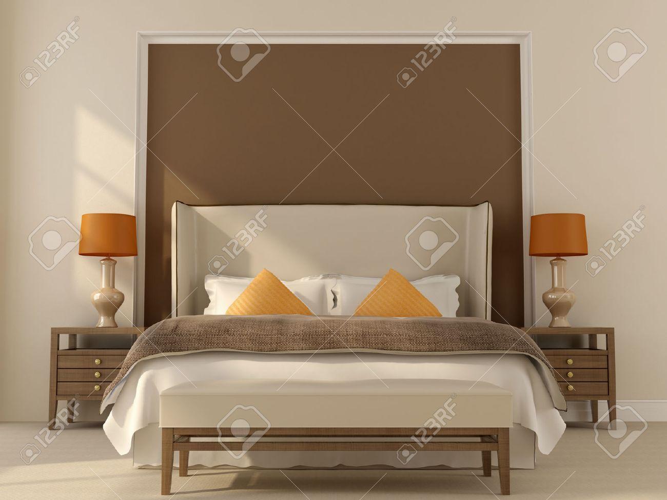 Chambre Dans Des Tons Beige Et Marron Avec Décoration D\'orange ...