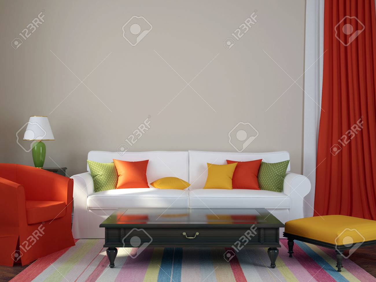 Colorful Composition Made In A Trendy Eclectic Style, Consisting Of A Sofa,  Armchair,