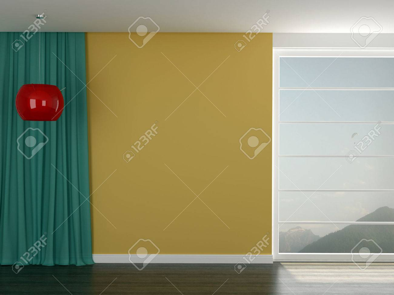 Bright Interior With Yellow Walls, Translucent Blue Curtains.. Stock ...