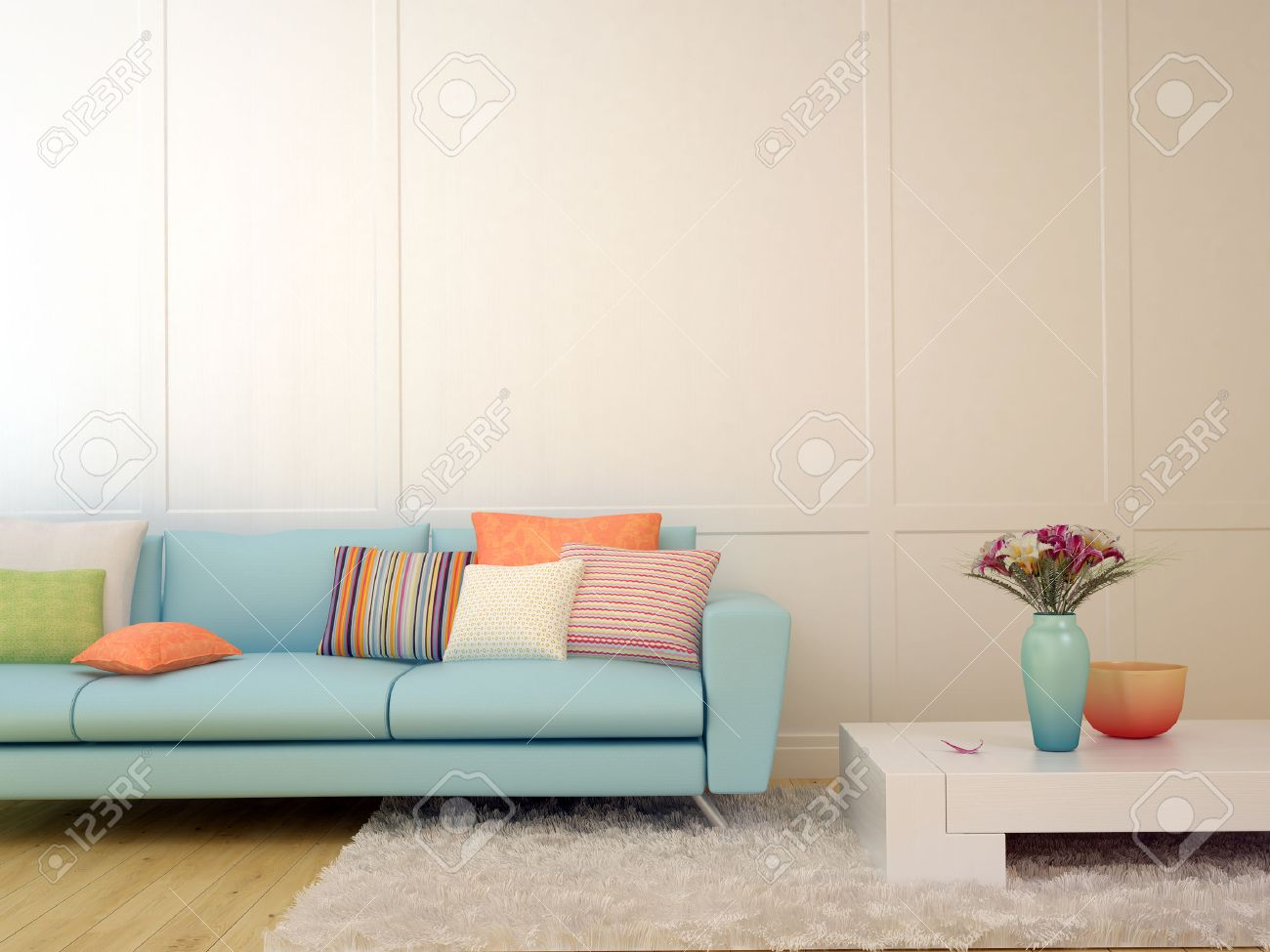 Bright Composition Of A Light Blue Sofa With Cushions And A.. Stock ...