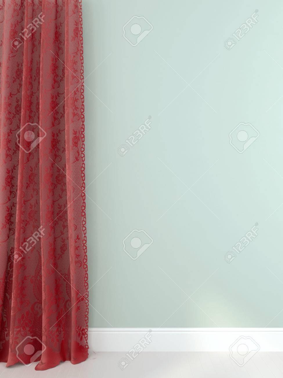 cortinas rojas de guipur en una pared de color azul claro foto de archivo