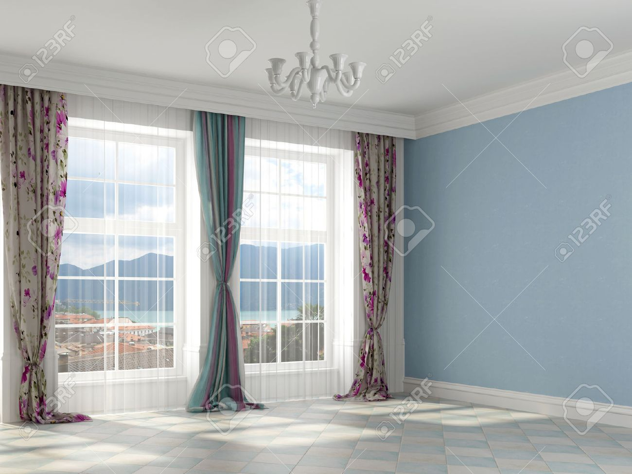 Colorful Interior With Blue Colored Walls And Colorful Curtains ...