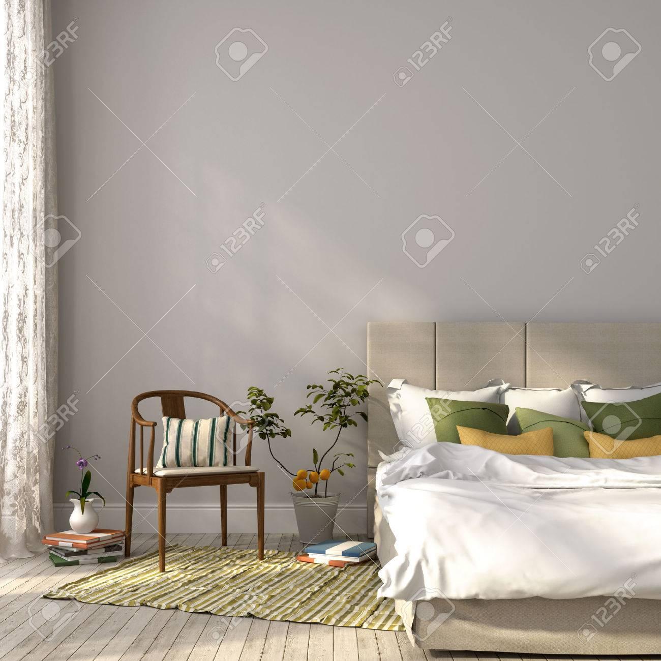 Schones Schlafzimmer In Beige Und Grun Einrichtung Die Auf Die