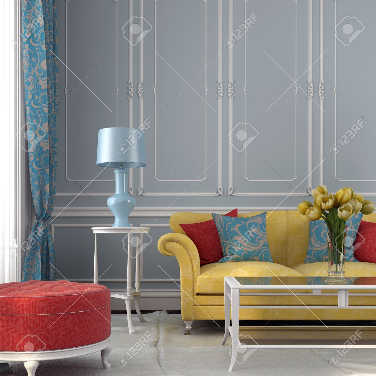 Classic Interior With Colored Furniture Against A Background Of Blue Wall  Stock Photo   28512409