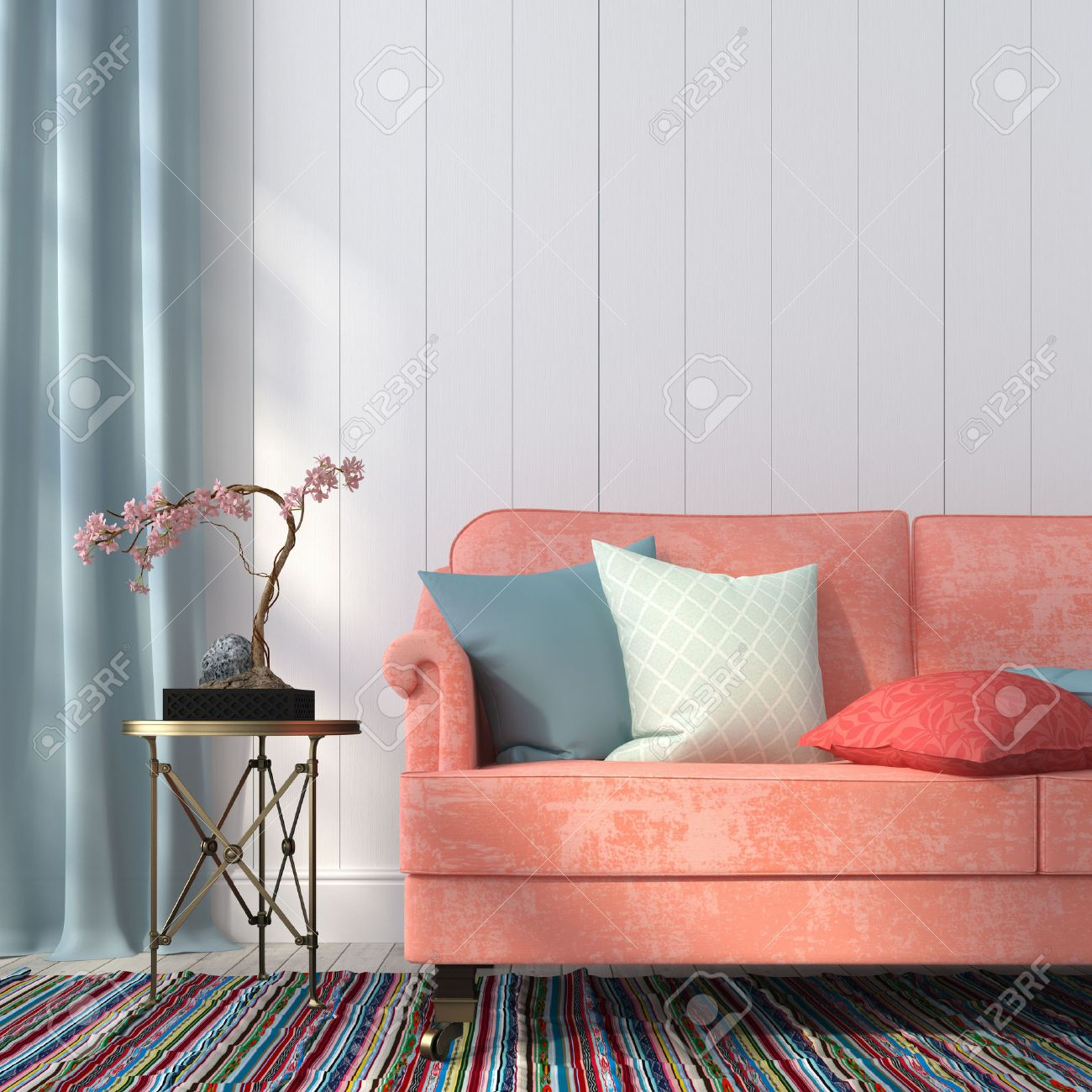 Classic Salmon Colored Sofa And Gilded Table On The Background Of A Wall  Paneled Wood