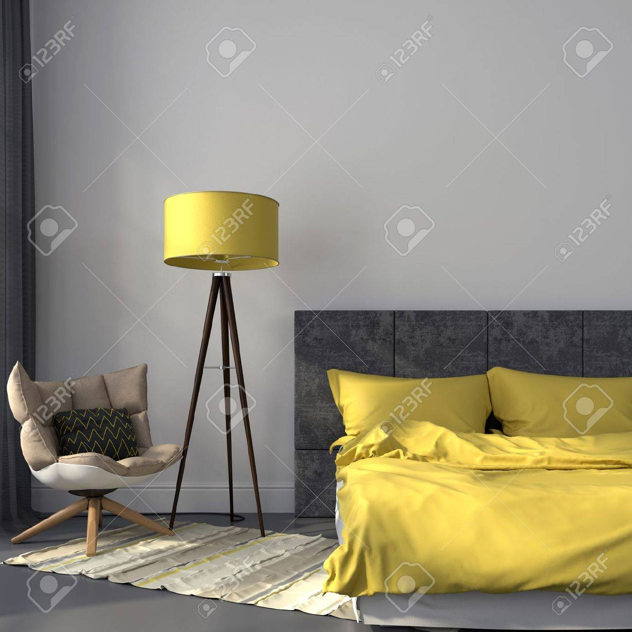 Moderne Slaapkamer In Grijze Kleur En Accenten Op Gele Lamp En ...