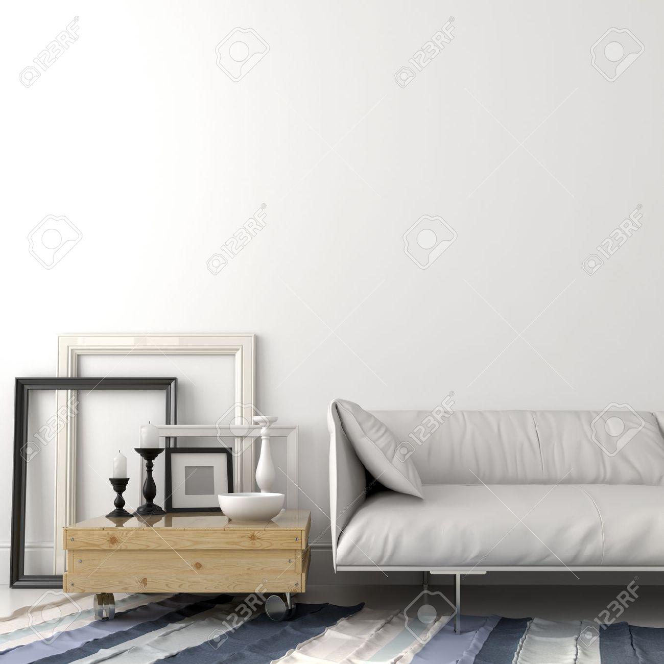 Moderne woonkamer met een leren bank en een salontafel in licht ...