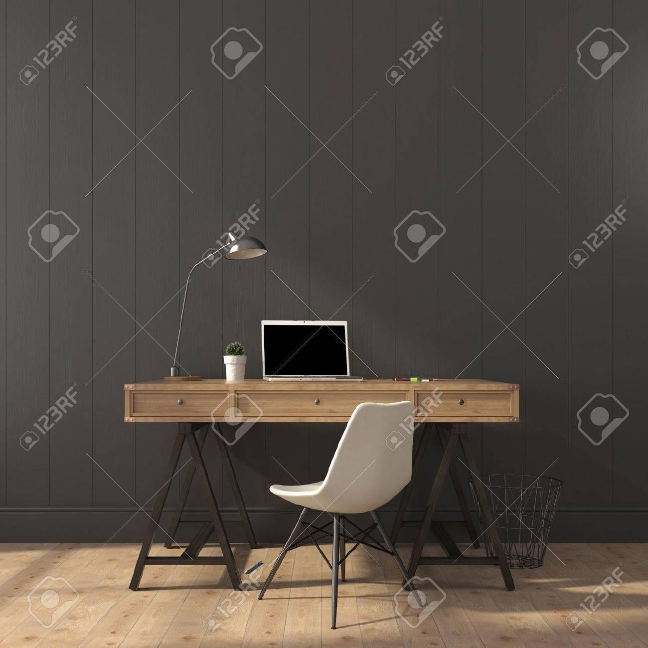 Schreibtisch aus holz und modernen stuhl gegen eine graue wand ...