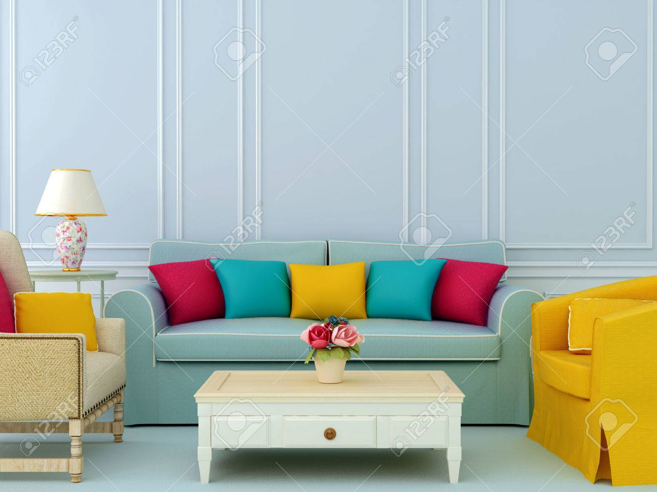 Schöne Zusammensetzung Der Blauen Sofa Und Helle Stühle Mit Bunten ...