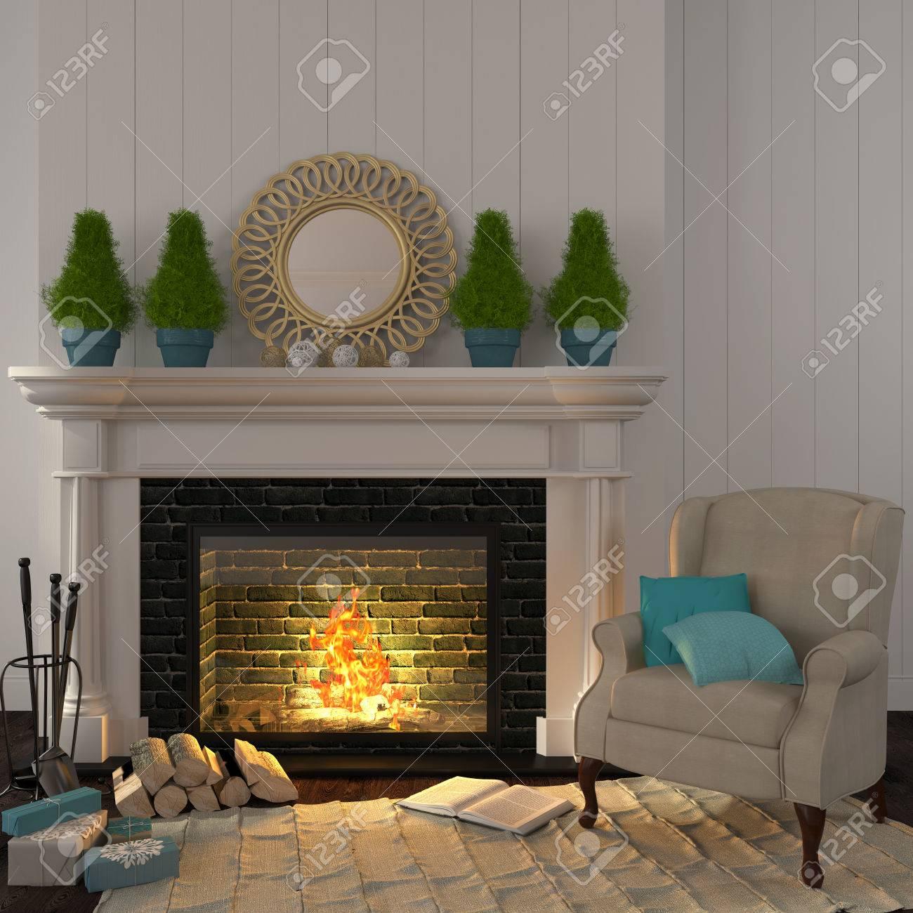 Miroir Salle De Sejour l'intérieur de la salle de séjour qui est décoré pour noël avec un fauteuil  près de la cheminée beige avec sapins et miroir