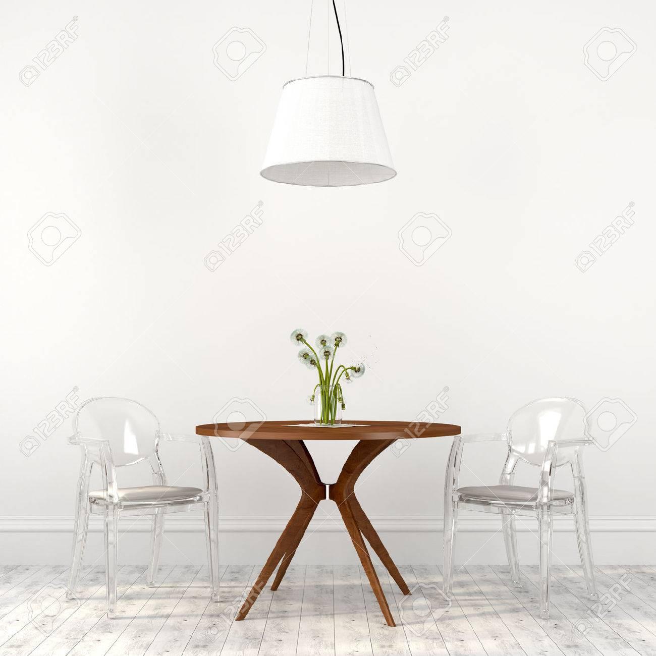 Comedor En Colores Blanco Con Mesa De Café Y Sillas Transparentes ...