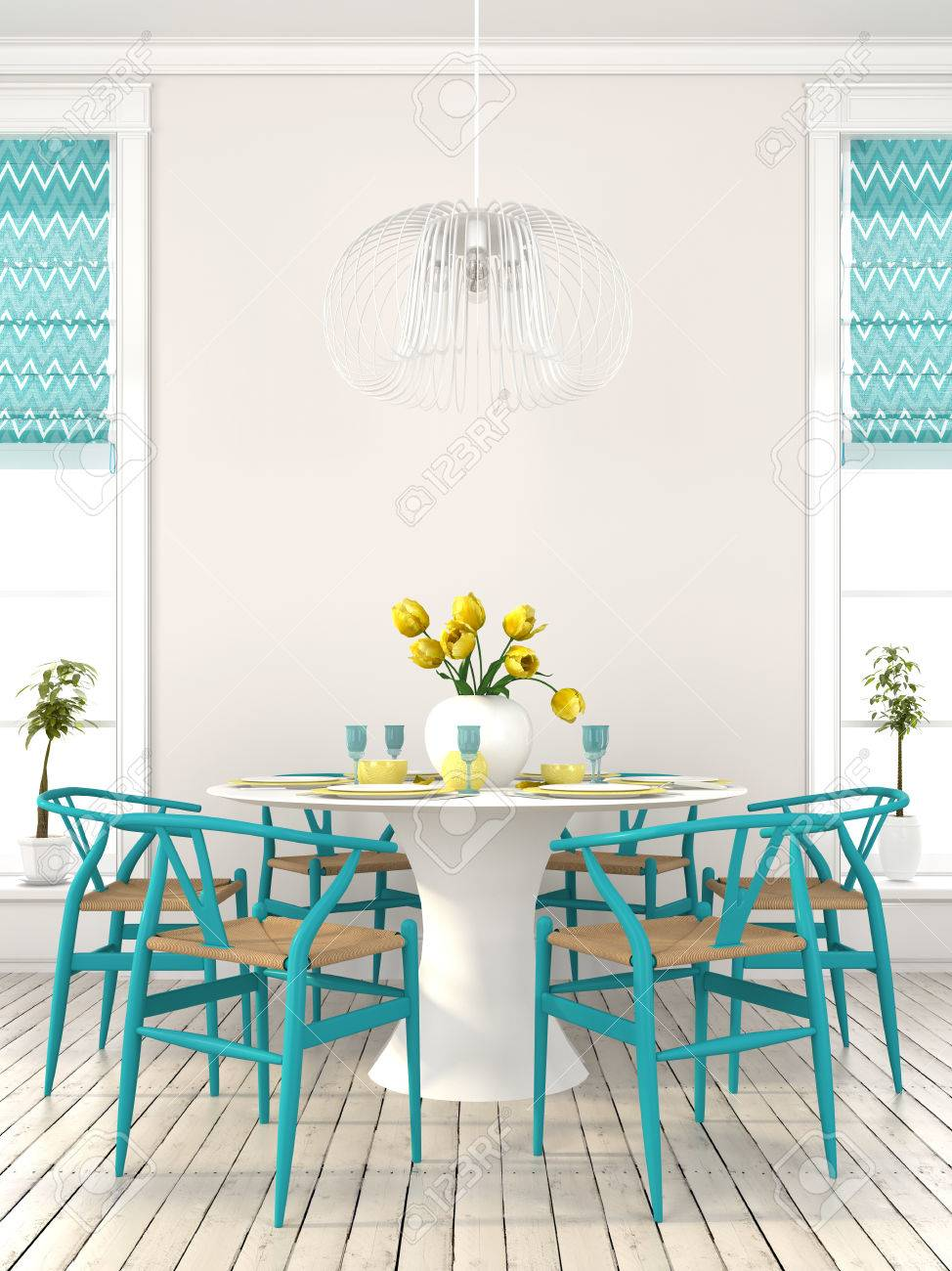 The Bright Dining Room With Blue Furniture And Yellow Decor Stock Photo Picture And Royalty Free Image Image 40002993