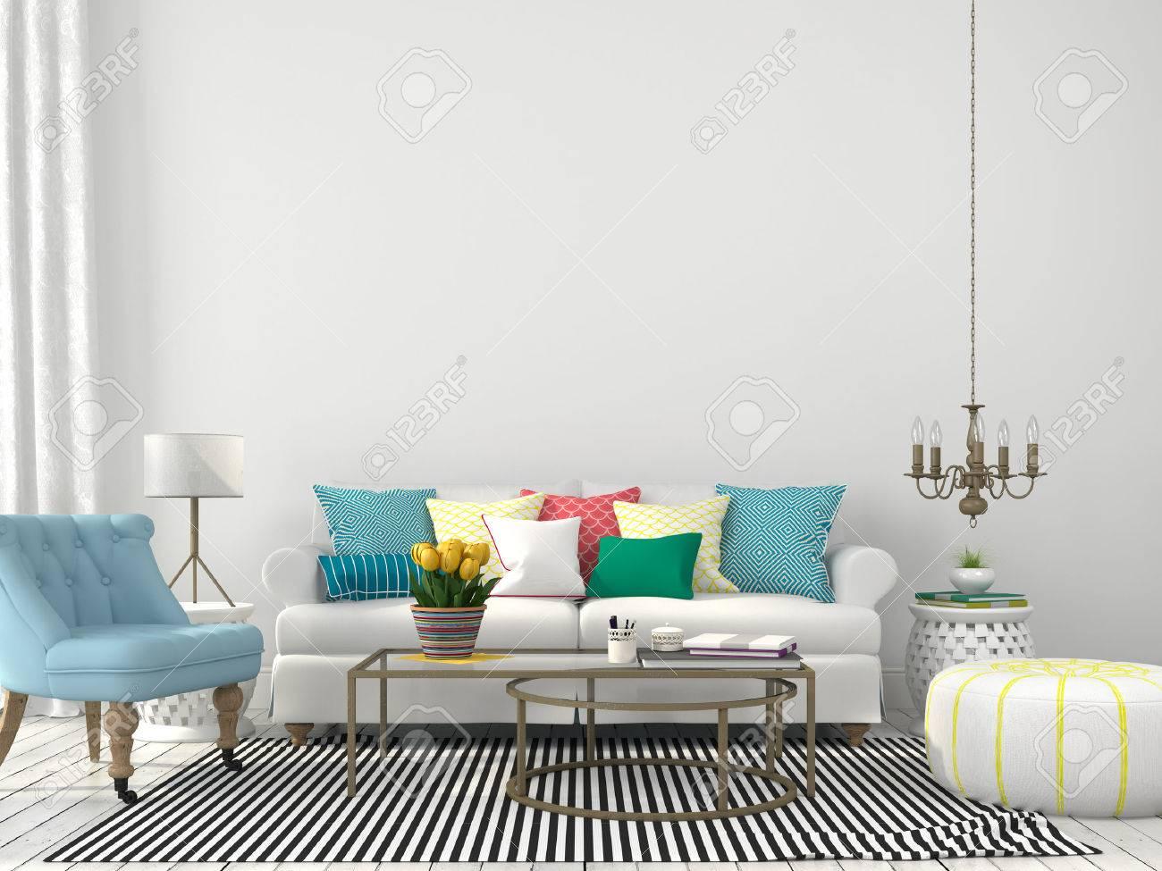 Weiß Innenraum Wohnzimmer Mit Bunten Kissen Lizenzfreie Fotos ...