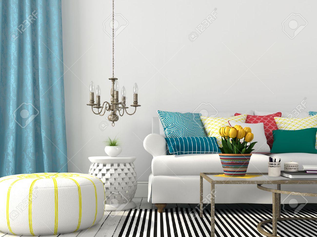 Weiß Innenraum Wohnzimmer Mit Bunten Kissen Und Blauen Vorhang ...