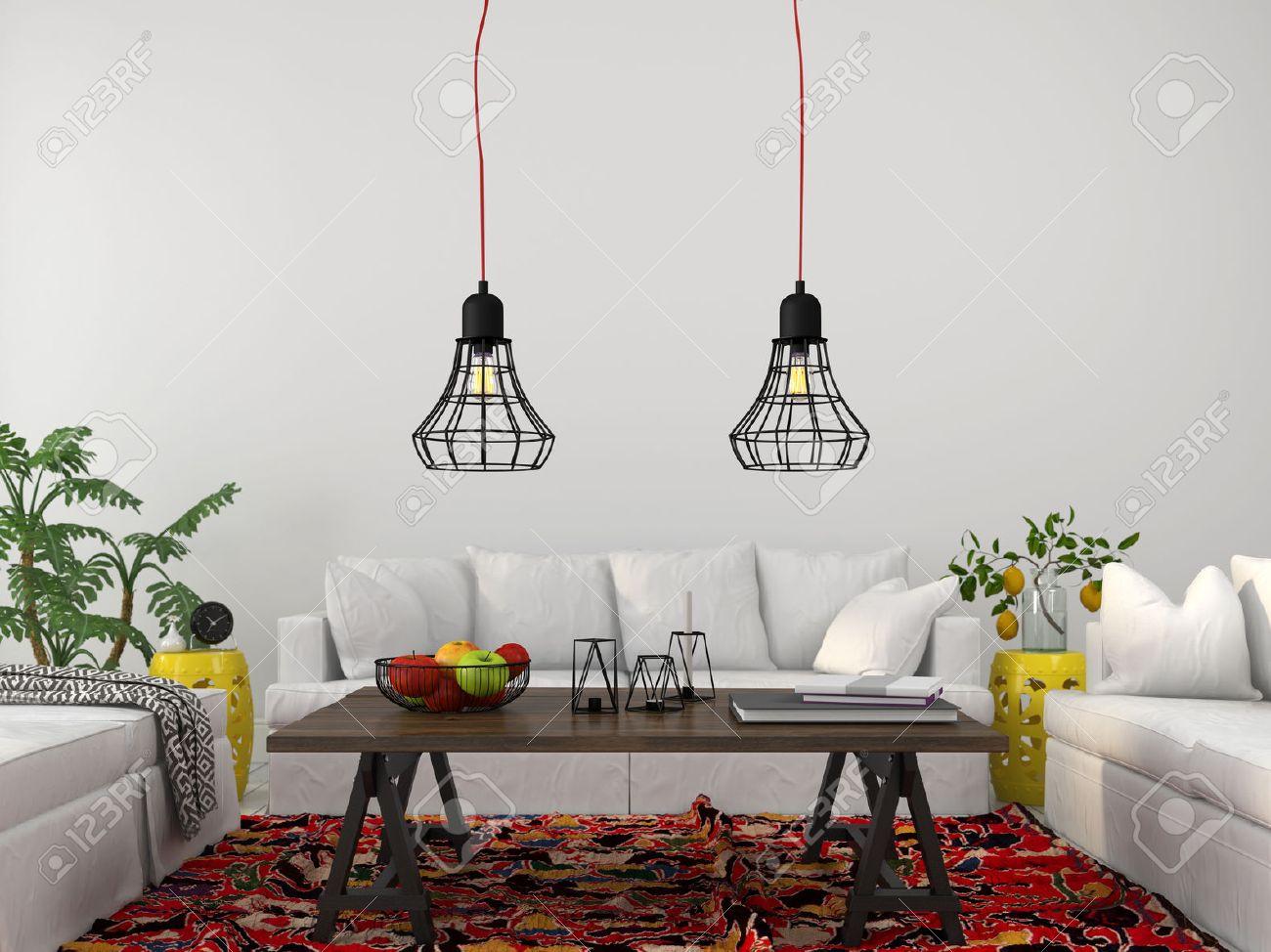 Modernes Wohnzimmer Mit Weißen Möbeln, Holztisch Und Modern Kronleuchter  Standard Bild   42092053