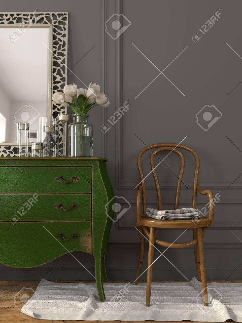 Das Interieur Im Vintage Stil Mit Einem Grunen Kommode Und Einem