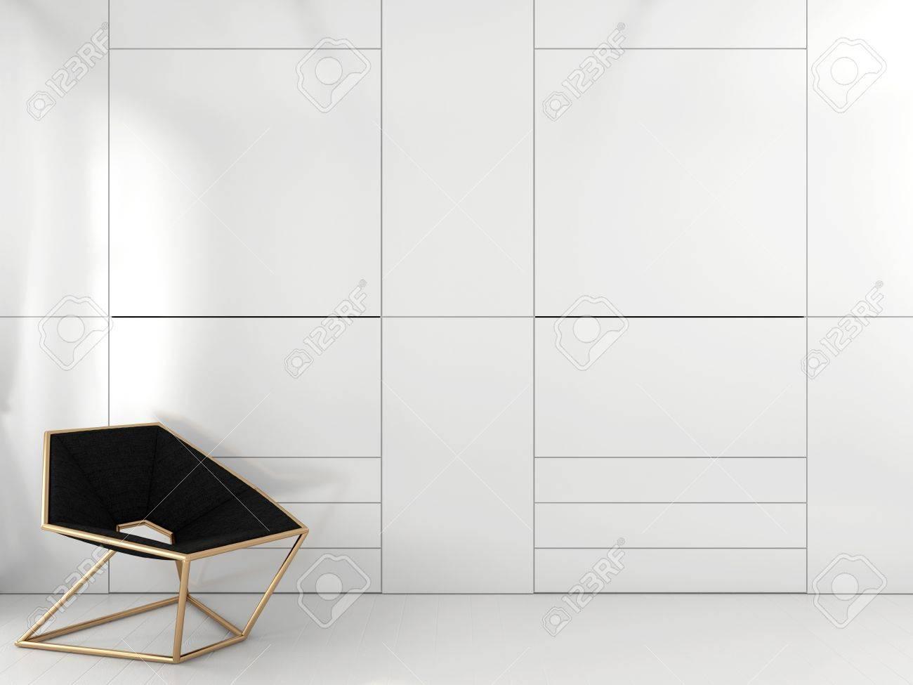 Stilvolle Geometrische Stuhl Mit Messingrahmen In Der Nähe Der ...