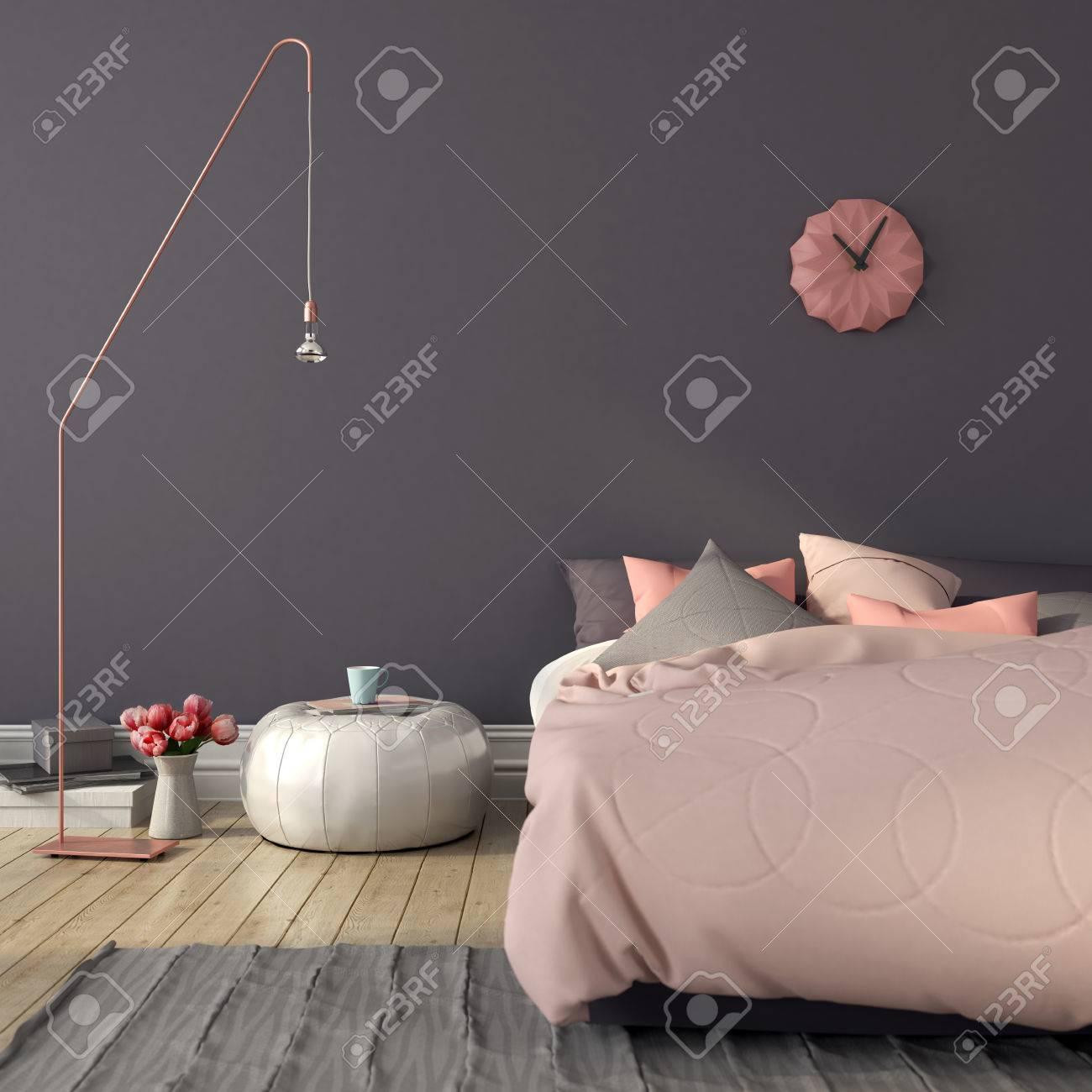 Gemutliches Schlafzimmer In Rosa Und Grau Mit Einem Stilvollen