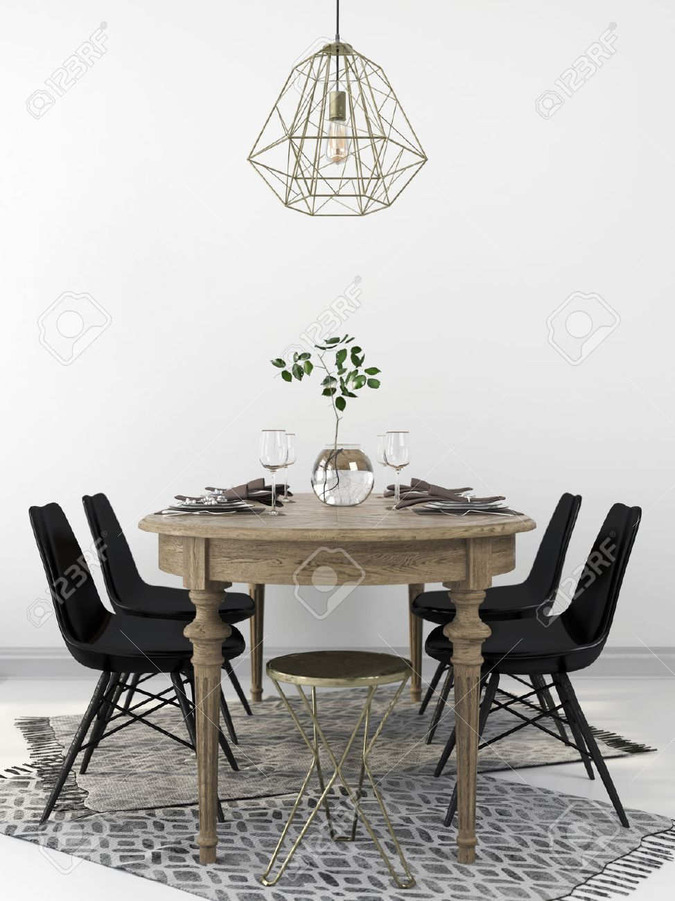 Served vintage wooden dining table, combined with the modern black chairs and a brass chandelier - 55483933