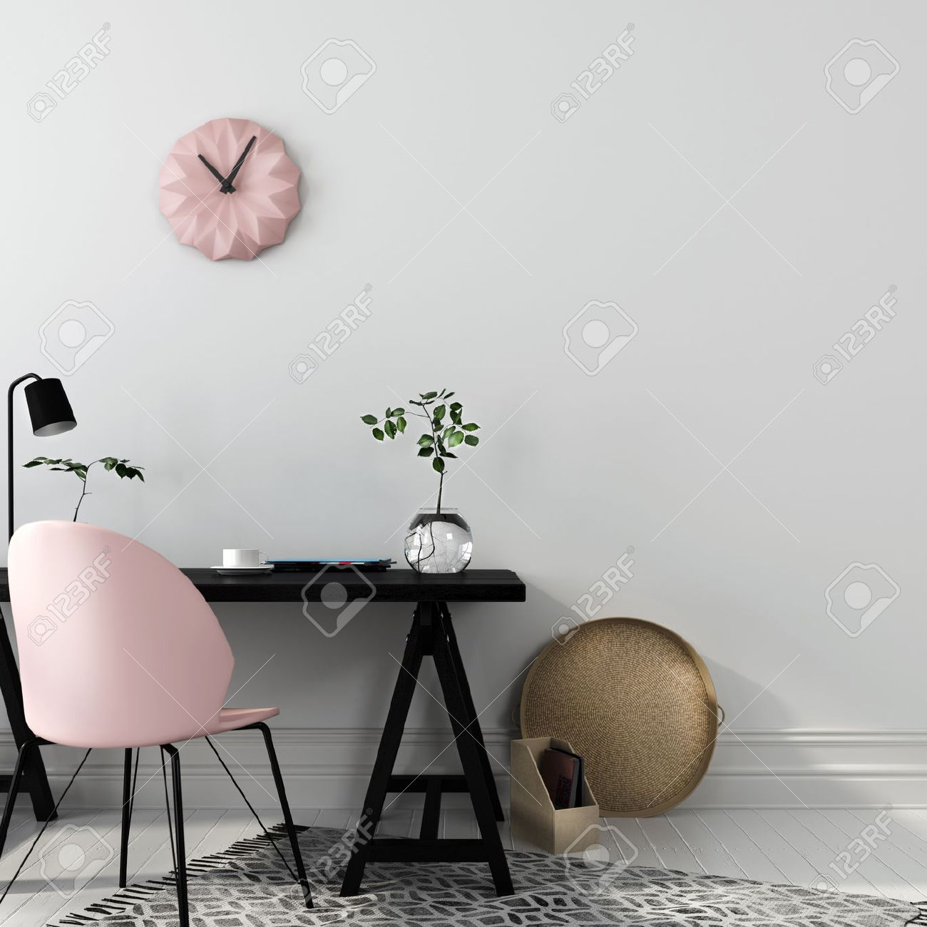 Stylish workplace with an interesting combination of a black wooden table and a pink chair - 56252395