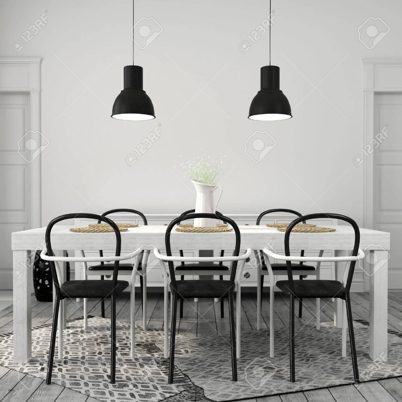 Das Innere Der Essbereich Mit Einem Grossen Weissen Tisch Mit Schwarzen Stuhlen Lizenzfreie Fotos Bilder Und Stock Fotografie Image 56252377