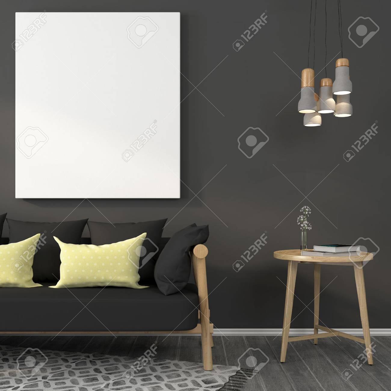 Modernes Wohnzimmer In Grau Mit Holzmöbeln Und Betonlampen Standard Bild    59854791
