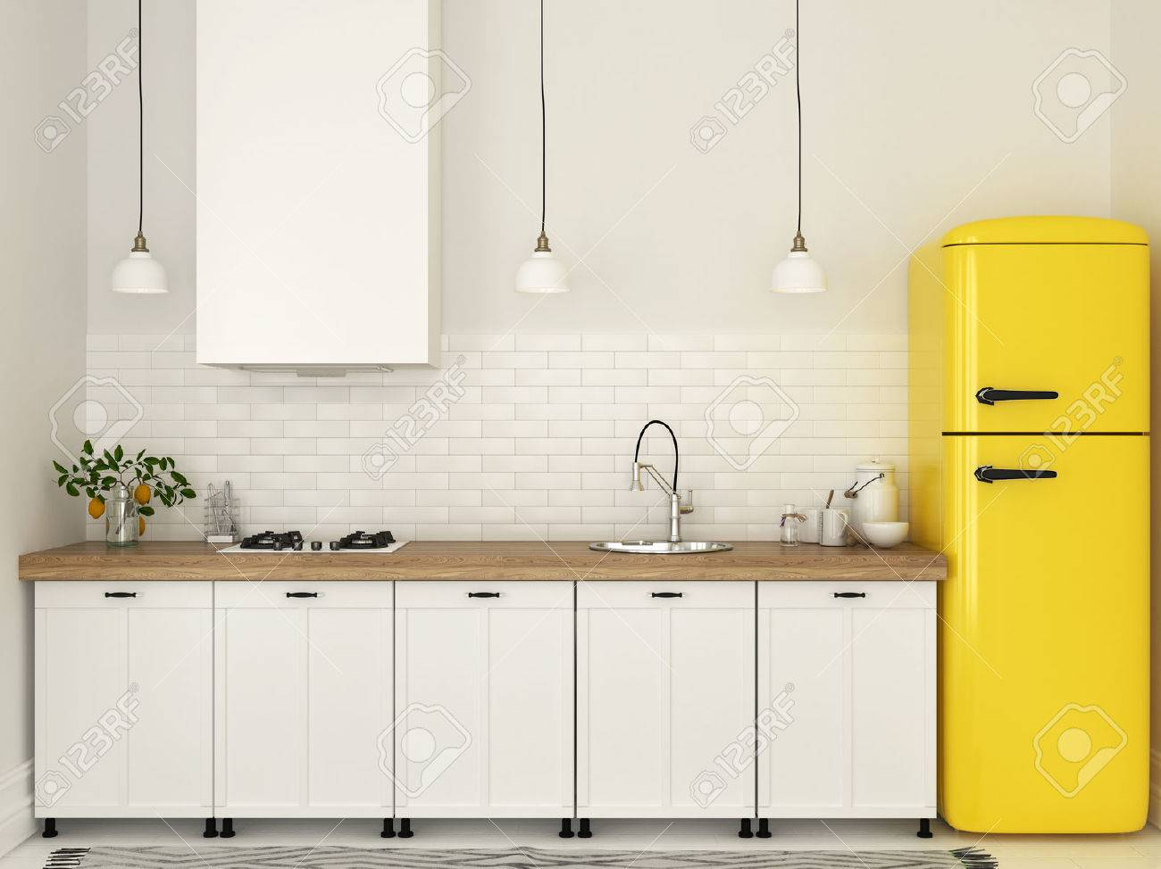 Bright kitchen with white furniture and a bright yellow fridge stock photo 61119137