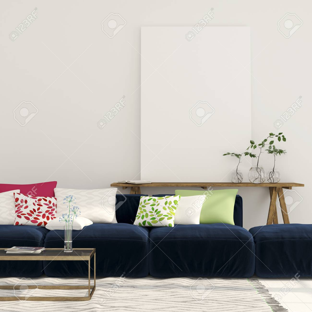 Wide Blue Sofa With Colorful Pillows And A Wooden Console With ...