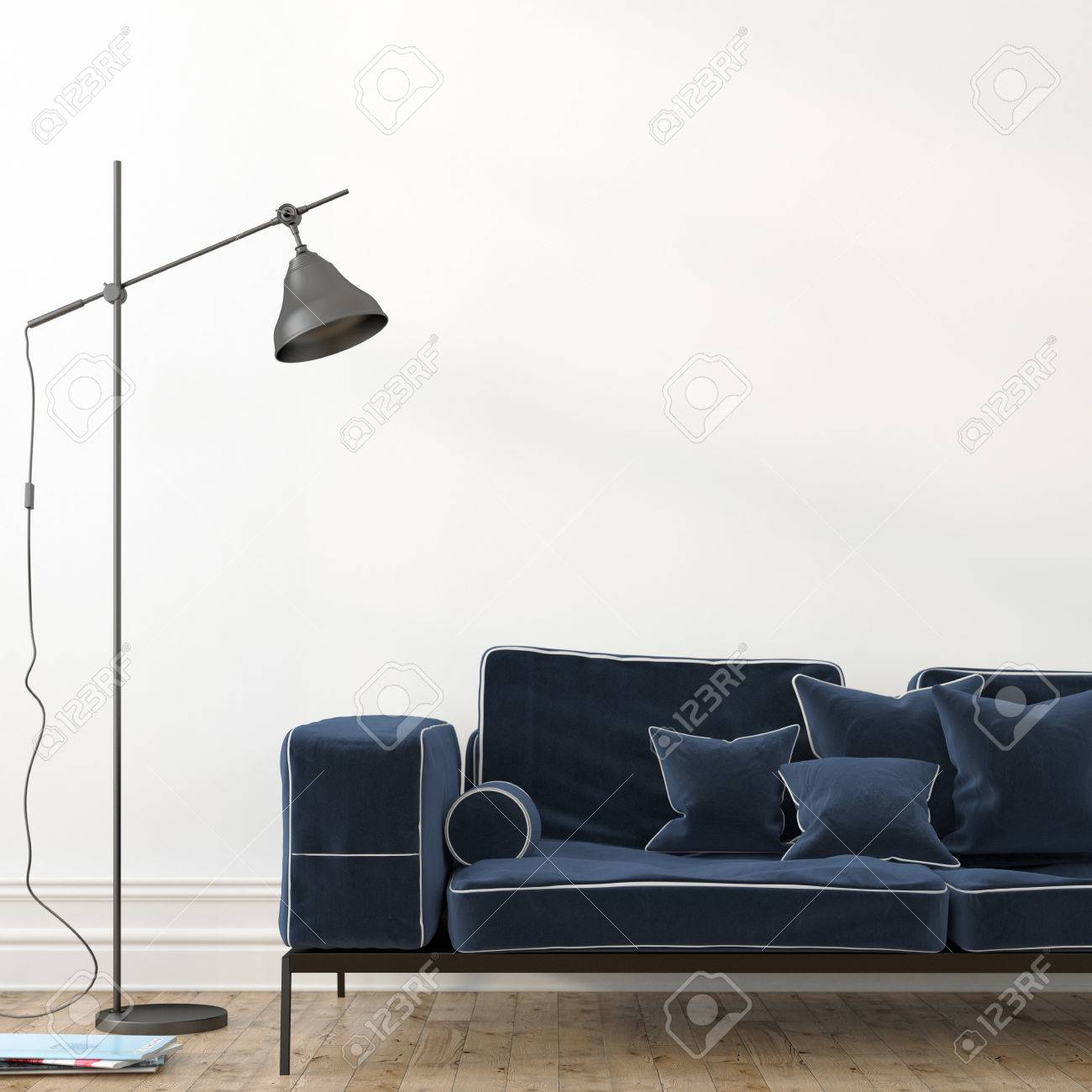 Minimalistic interior with a stylish blue velvet sofa and a modern..