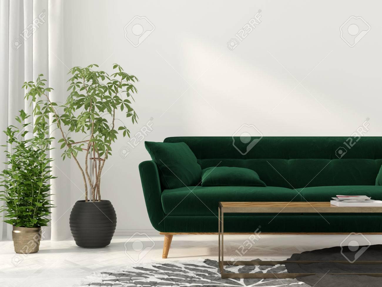 3d Darstellung Innenraum Der Wohnzimmer Mit Grünen Sofa Lizenzfreie