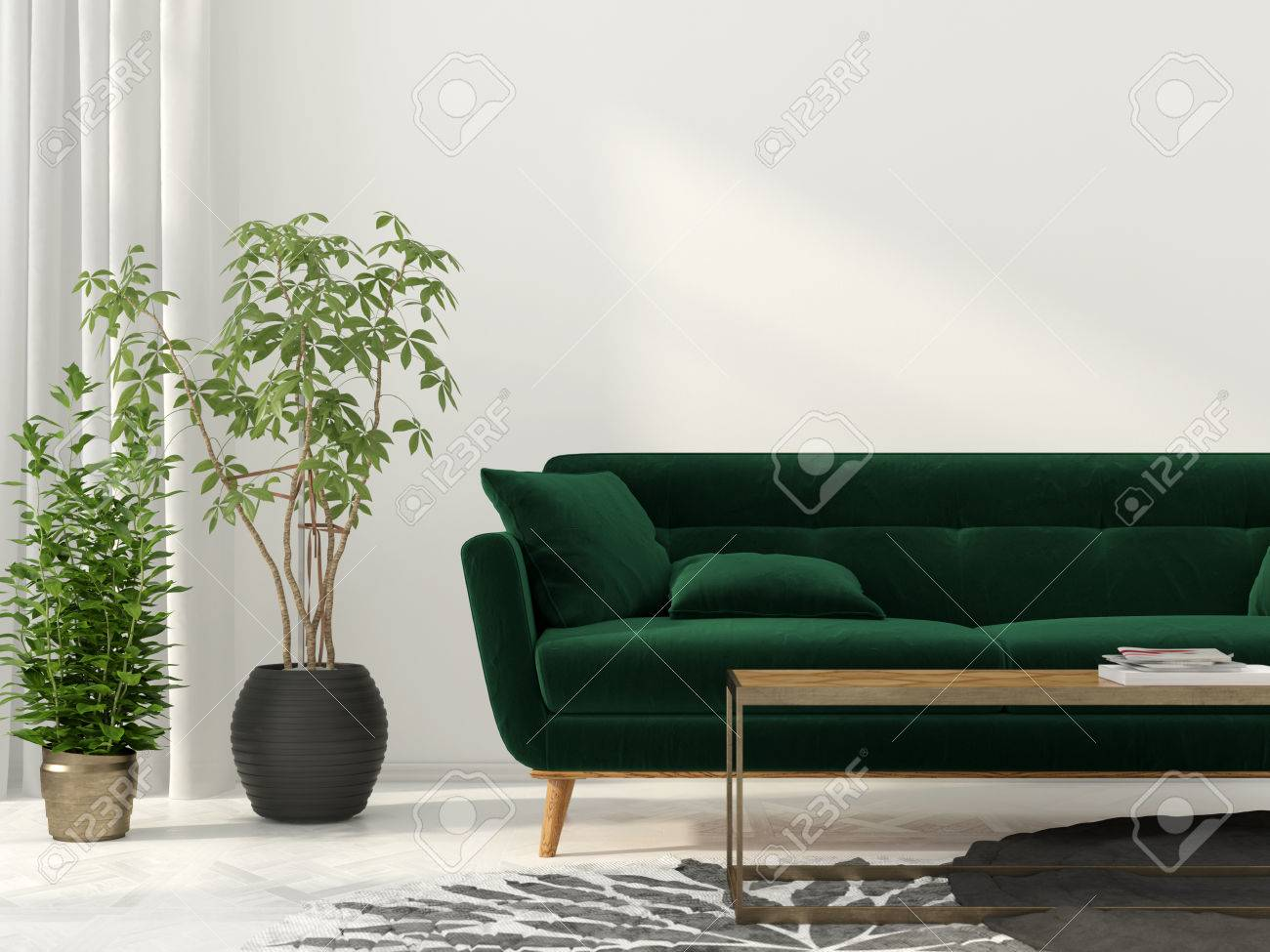3d Illustration Interior Of The Living Room With Green Sofa Stock